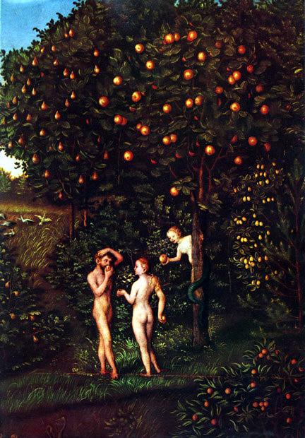 Adam and Eve in Paradise by Lucas Cranach